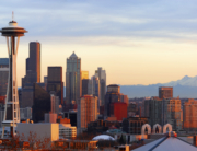 Panorama of downtown Seattle at sunset.