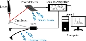 Amplitude Noise Spectrum of a Lock-in Amplifier: Application to Microcantilever Noise Measurements